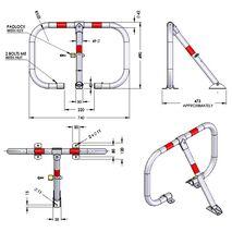 Μπάρα παρεμπόδισης στάθμευσης με 3 πόδια Φ42mm Doorado HSC3L-8050-4218