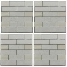 Αυτοκόλλητα πλακάκια τοίχου classic subway εσωτερικού χώρου σε λευκό χρώμα