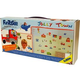 Fun to see jollie town σέτ βαλιτσάκι με αυτοκόλλητα τοίχου