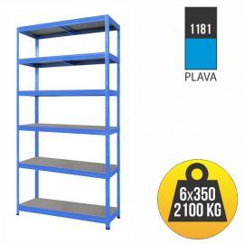 Ραφιέρα μεταλλική μπλε με ράφια MDF 2130x900x600cm Futur Plus 1181