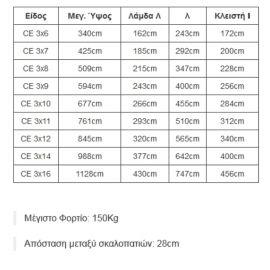 Πτυσσόμενη σκάλα αλουμινίου 3x6 εώς 3x16