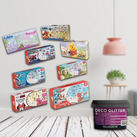 Πακέτο σετ βαλιτσακι με αυτοκολλητα τοιχου.+ χρώμα Deco Glitter 350ml